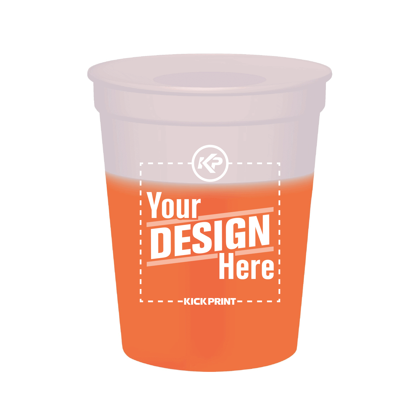 Color changing cup white to orange